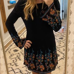 Embroidered flair dress